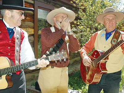 Tumbleweed Tony, Yodel 'N Al, and Jingl 'N Jud of the OK Chorale jam at last year's Sharlot Hall Museum's Folk Music Festival in Prescott. (Patrick Whitehurst/The Daily Courier)