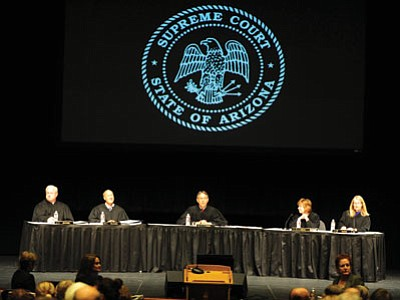 The Arizona Supreme Court heard oral arguments at the Yavapai College Performing Arts Center on Sept. 30 in Prescott. (Les Stukenberg/The Daily Courier)