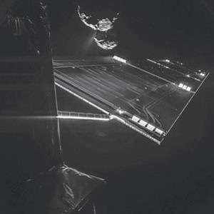 EUROPEAN SPACE AGENCY/Courtesy<br>The Philae lander of the European Space Agency's Rosetta mission took this self-portrait of the spacecraft on Oct. 7 at a distance of 10 miles from comet 67P/Churyumov–Gerasimenko.