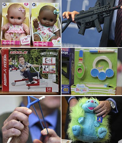 The 10 worst toys this year include a colored infant hedgehog plush toy (bottom right) with long, fiber-like hair that is not adequately rooted and easily removed, presenting potential for ingestion or aspiration injuries. Also dolls (top left), targeted toward oral-age children as young as 2-years-old, sold with decorative bows made of ribbon which detach from the head of the  doll, posing a potential choking hazard. (AP photos)