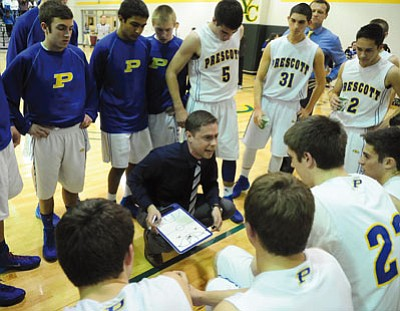 Les Stukenberg/The Daily Courier<br>Under sixth-year head coach Adam Neely, seen huddling up with his club back on Feb. 12 at Yavapai College, Prescott closed last season winning seven of 10 games, including a six-game winning streak.