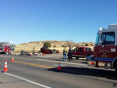 Two people were killed in a motor vehicle collision involving a motorcycle and pickup Saturday at the intersection of state Highway 89 and Sweet Valley Road in Paulden. (Town of Chino Valley/Courtesy photo)