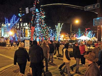 Matt Hinshaw/The Daily Courier, file photo<br> People fill Gurley and Cortez streets during the 2013 Acker Musical Showcase in downtown Prescott. This year's event is Friday, Dec. 12.