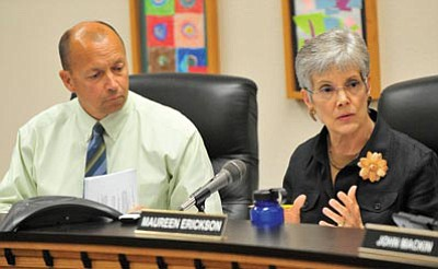 Matt Hinshaw/The Daily Courier<br /><br /><!-- 1upcrlf2 -->Prescott Unified School Distrcit Governing Board President Maureen Erickson and Superintendent Dave Smucker at a board meeting. Smucker has announced his resignation today.