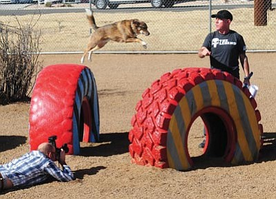 "Les Stukenberg/The Daily Courier<br> Jon Navarro gets his dog Brody to jump from tire to tire during the opening of the ""Sirens and Hydrants"" Prescott Willow Creek Dog Park Wednesday."