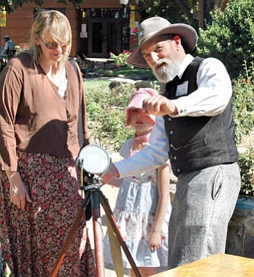 Courtesy photo<br>Volunteer David Clark demonstrates the heliograph for guests during one of the festivals at Sharlot Hall Museum.