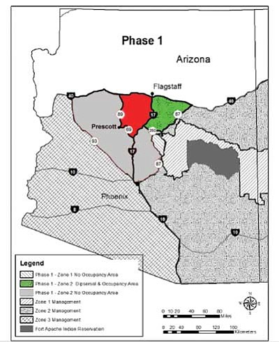 Courtesy USF&WS<br>The green on this map is part of the Phase 1 area where wolves can naturally disperse into a region including northeast Yavapai County for the first time starting Feb. 15. Wolves will be able to live in the red area that includes more of Yavapai County in Phase 2 after 5-12 years. By Phase 3 they could live anywhere south of Interstate 40.