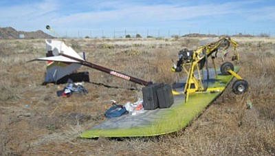 Image courtesy Yavapai County Sheriff's Office<br /><br /><!-- 1upcrlf2 -->An ultralight aircraft came to rest after crashing at Bagdad Airport.