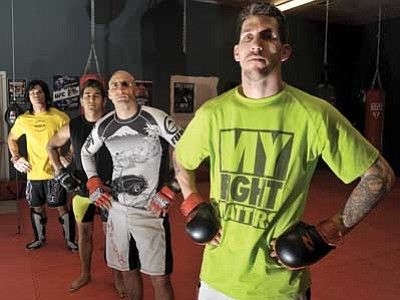 Matt Hinshaw/The Daily Courier<br> From right to left, Danny Hilton, Nicholas Salantri, Kevin Barberna and Marcus Brodit from the Prescott MMA Academy are currently on the fight card for the upcoming Rage in the Cage 175. The MMA bouts will take place on Jan. 31 at the Prescott Valley Event Center.
