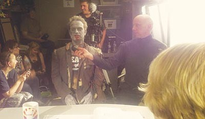 "Courtesy photo<br>Local actors Cason Murphy (in zombie makeup) and Sean Jeralds were featured in ""Dead Votes Society."""