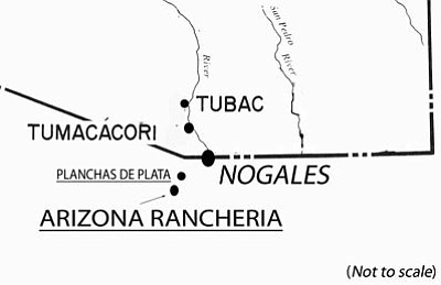 Courtesy image<br> This map, illustrating portions of southern Arizona and northern Sonora, shows the approximate location of the famous 1736 silver discovery called Planchas de Plata and a nearby rancheria named Arizona.