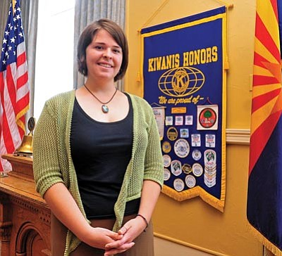 Matt Hinshaw/The Daily Courier<br>Kayla Mueller, shown in May 2013, works for Support to Life in Turkey spoke to the Prescott Kiwanis Club about the situation in Syria and efforts to build a second camp for Syrian refugees in Turkey.