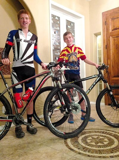 Doug Cook/The Daily Courier<br>Mountain biking brothers Connor, left, and Hayden Rosborough chilling at home in Prescott.