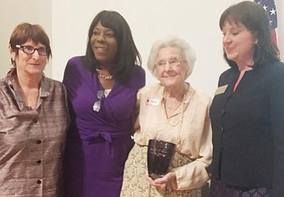 Kelly Soldwedel Thornill/The Daily Courier<br>Shelley Cohn, Linda Williams, Elisabeth Ruffner and  Michele Reagan at the induction of Ruffner into the Arizona Women's Hall of Fame Thursday evening.