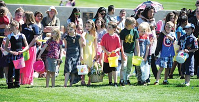 Les Stukenberg/The Daily Courier<br /><br /><!-- 1upcrlf2 -->Ready to go for the eight to ten year old hunt at the annual Prescott Valley Easter Egg Hunt Saturday, March 28.