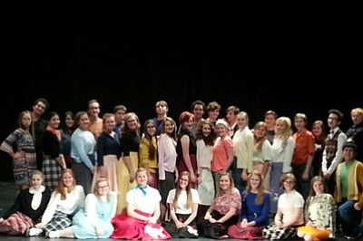 "The cast of Prescott High School's production of ""Grease."" (Courtesy)"