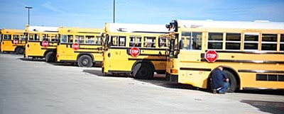 Les Stukenberg/The Daily Courier<br /><br /><!-- 1upcrlf2 -->Humboldt Unified School District transportation officials had to fix the vandalism to 61 buses Monday morning.