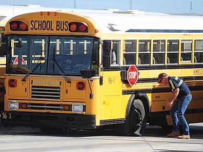 Les Stukenberg/Daily Courier<br /><br /><!-- 1upcrlf2 -->Humboldt Unified School District buses were vandalized over the weekend.