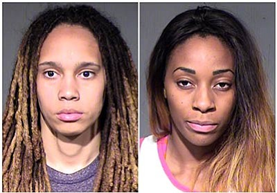 Maricopa County Sheriff's Office via AP, File<br>This combo of booking photos released by the Maricopa County Sheriff's Office show WNBA players Brittney Griner, left, and Glory Johnson following their arrest on April 22, 2015.