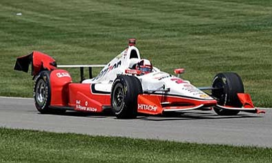 R Brent Smith/The AP<br> The car driven by Juan Pablo Montoya, of Colombia, shows damage from an opening lap incident during the 99th running of the Indianapolis 500 auto race at Indianapolis Motor Speedway in Indianapolis, Sunday, May 24. The car was repaired and Montoya went on to win the race.
