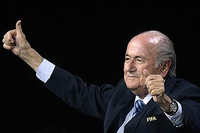 Walter Bieri/Keystone via AP<br>FIFA president Sepp Blatter gestures after his re-election during the 65th FIFA Congress held at the Hallenstadion in Zurich, Switzerland, Friday, May 29. Blatter has been re-elected as FIFA president for a fifth term, chosen to lead world soccer despite separate U.S. and Swiss criminal investigations into corruption. The 209 FIFA member federations gave the 79-year-old Blatter another four-year term on Friday after Prince Ali bin al-Hussein of Jordan conceded defeat after losing 133-73 in the first round.