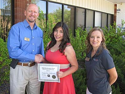 Courtesy<br /><br /><!-- 1upcrlf2 -->Jaqueline Beltran, with Cheri Warner, adjunct instructor and advanced ground instructor at Yavapai College's Career and Technical Education Center (CTEC), and John Morgan, the college's dean of career and technical education.