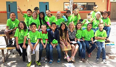 Members of the Recycling Club at Del Rio Elementary School  in Chino Valley has grown into a powerhouse that saves more than 1,000 milk cartons a day from languishing in the landfill. (Courtesy photo)