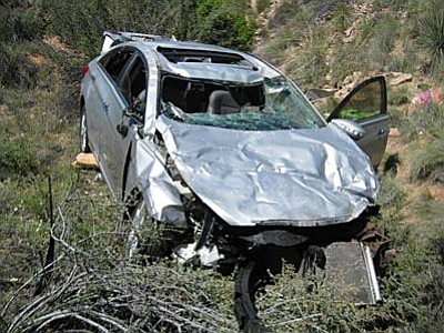 Contributed photo<br /><br /><!-- 1upcrlf2 -->Four teenagers were all injured, but avoided life-threatening injuries after a rollover crash involving a silver Hyundai near the village of Oak Creek on Thursday.