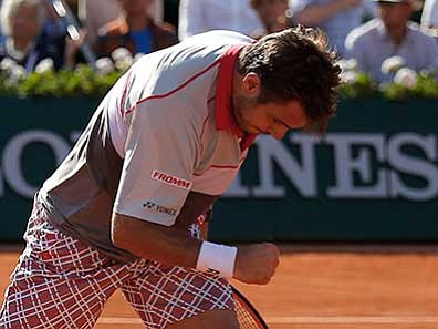 Francois Mori/The AP<br> Switzerland's Stan Wawrinka reacts shortly before defeating Serbia's Novak Djokovic in their final match of the French Open tennis tournament at the Roland Garros stadium, Sunday, June 7, in Paris.