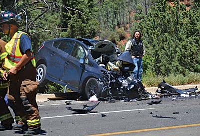 Vyto Starinskas< Verde Independent/Special to the Courier<br> Sunday, an accident in Sedona on Highway 89A between Brewer Road and Rolling Hills left three dead and one seriously injured.