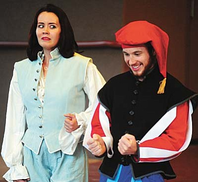 Les Stukenberg/The Daily Courier<br /><br /><!-- 1upcrlf2 -->Reva Howard as Rosalind reacts to a joke made by Touchstone played by M. Justus Burkitt during a dress rehearsal of Shakespeare in the Pines presents Laark Productions As You Like It. The production runs June 26 and 27 at the Highland Center for Natural History on Walker Road. Tickets can be purchase online at www.highlandscenter.org.