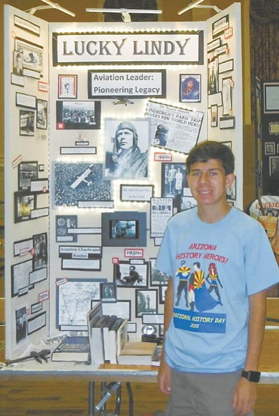 Alex Daniels and his project on Charles Lindbergh. (Courtesy photo)