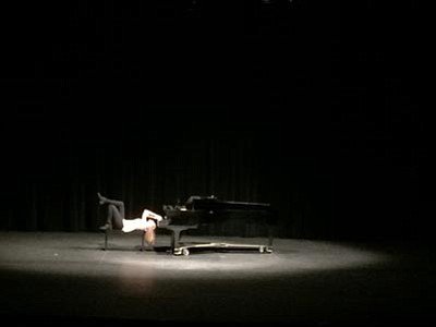 An upside-down piano player was among the performers at the Prescott High School NHS-sponsored variety show. (Courtesy photo)