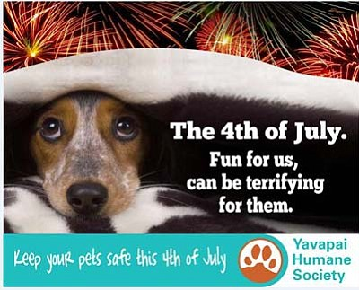 Keep your pets safe this 4th of July and during the scary monsoon season. YHS will microchip your pet for just $10 this Friday at the YHS Wellness Clinic, 2989 Centerpointe East, Prescott, between the hours of 8 and 11:30 a.m. No appointment needed.