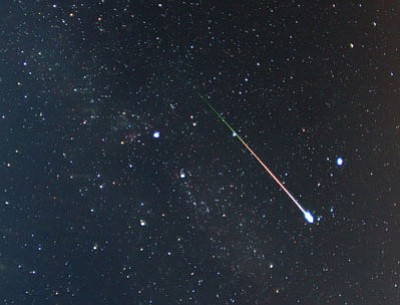 The  earth is passing through a debris stream that creates the annual Perseids meteor shower. This Perseids meteor shower photo was taken during a similar event on Aug. 12, 2009. (Photo by Pete Lawrence/nasa.gov)