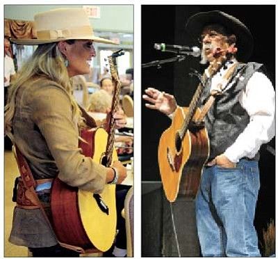 """Les Stukenberg/The Daily Courier<br>Trinity Seeley, left, performs at the Susan J. Rheem Adult Day Care Center in Prescott Valley Friday as part of the Arizona Cowboy Poets Gathering community outreach program. At right Randy Huston tells a story at the Yavapai College Performance Hall during a session titled """"Working Hands"""" Friday afternoon during the 28th Annual Cowboy Poets Gathering. Photo by Matt Hinshaw of The Daily Courier"""