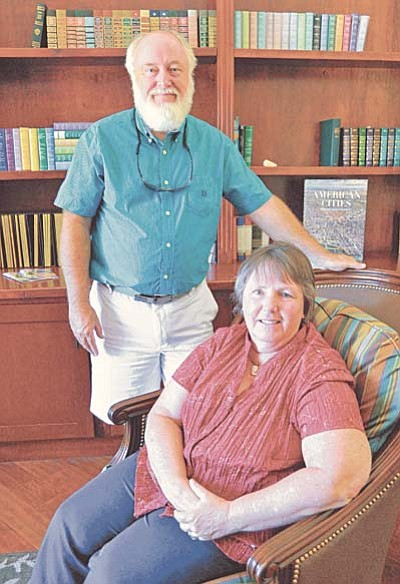 Matt Hinshaw/The Daily Courier<br /><br /><!-- 1upcrlf2 -->Kevin and Louise Richards in the library at The Good Samaritan Society's Marley House Tuesday afternoon in Prescott.