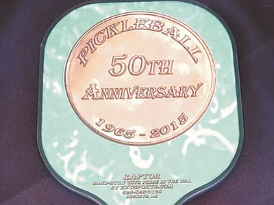 Ed Wisneski/Courtesy photo<br> A pickleball paddle pays tribute to the sport's 50th anniversary this year.