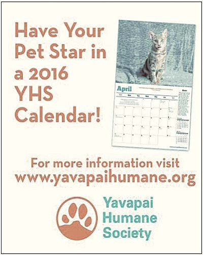 Does your pet love being in front of the camera? Make them a star while helping homeless animals with Yavapai Humane Society's 2016 calendar online auction. Learn more at www.yavapaihumane.org.