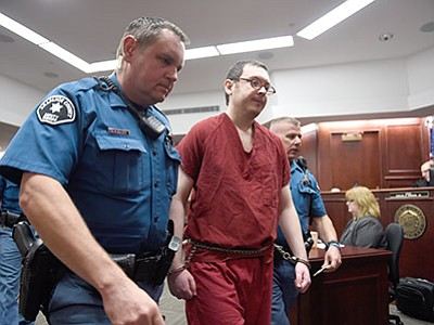 RJ Sangosti/The Denver Post via AP, Pool<br> Colorado theater shooter James Holmes is led out of the courtroom after being formally sentenced on Wednesday, Aug. 26, in Centennial, Colo.