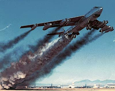 "U.S. military archives<br /><br /><!-- 1upcrlf2 -->A B-47 with rocket-assisted takeoff, which will be discussed by former pilots at ""Flying the B-47 and B-52 during the Cold War"" by Dr. S. Harry Robertson of Phoenix and Dr. Frank Ayers of Prescott, during a free, public Aviation History Program at Embry-Riddle Aeronautical University."