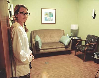 Julie Bender in the consult room at the center.<br /><br /><!-- 1upcrlf2 -->Les Stukenberg/The Daily Courier