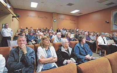 Matt Hinshaw/The Daily Courier<br>People fill the city of Prescott council chambers during a city council meeting on the fiscal year budget and other topics Tuesday afternoon in Prescott.