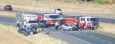 Helicopters airlifted the three victims of this two-vehicle collision near the Highway 89A and Granite Dells Parkway on-ramp Monday, Oct. 12. Prescott Police now report the teenage driver who caused the head-on crash did not have a driver's license.<br /><br /><!-- 1upcrlf2 -->(Les Stukenberg/The Daily Courier, file)