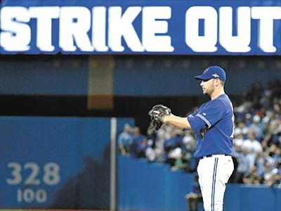 Nathan Denette/The Canadian Press via AP<br> Toronto Blue Jays' starting pitcher Marco Estrada stands on the mound after striking out Kansas City Royals' Kendrys Morales during the eighth inning in Game 5 of baseball's American League Championship Series on Wednesday, Oct. 21, in Toronto.
