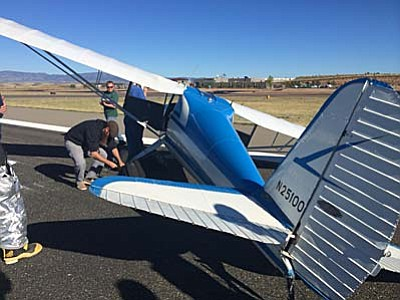 Photo provided by Prescott Fire Dept.<br /><br /><!-- 1upcrlf2 -->A vintage 1939 airplane crashed at Prescott's airport Saturday afternoon.