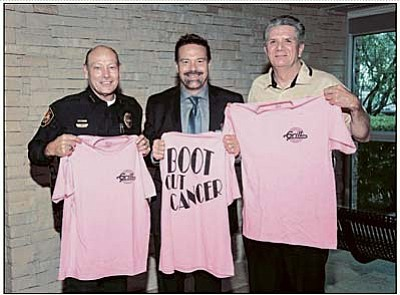 Courtesy<br>Pictured is Prescott Police Chief Jerry Monahan, YRMC President and CEO John Amos and Prescott Fire Chief Dennis Light.