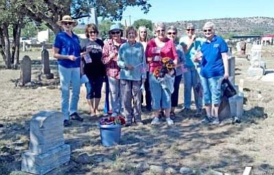 The Yavapai Chapter of the Daughters of the American Revolution took part in the National DAR Day of Service on Oct. 11 by cleaning up Citizens Cemetery. From left are Linda Shebek, Kathy Machmer, Lee Nelson, Sue Hubbard, Elaine Myers, Nancy Silacci, Patsy Silvey, Janet Winston and Sue Burk. (Courtesy photo)
