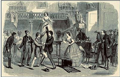 The auction scene from The Octoroon. Illustrated London News #39, Nov. 30, 1861. Nellie Boyd's cast for her Prescott presentation was more limited in size.