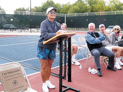 Courtesy photo<br> Fay Matsumoto is the second Prescott inductee. She recently retired from Yavapai College, but held almost every position in the Physical Education Department. Fay is not only a great player (recently coming in third in doubles in the national women's 65 hard courts and fourth in singles), but a selfless volunteer who has done more over her 30-plus years in the Prescott area than just about anyone I can think of.